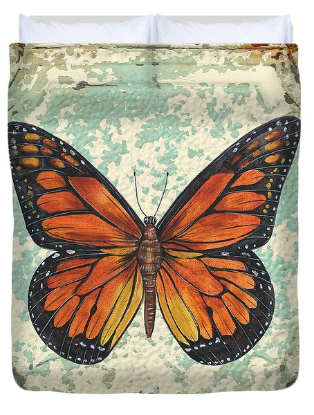 Lovely Orange Butterfly On Tin Tile Duvet Cover