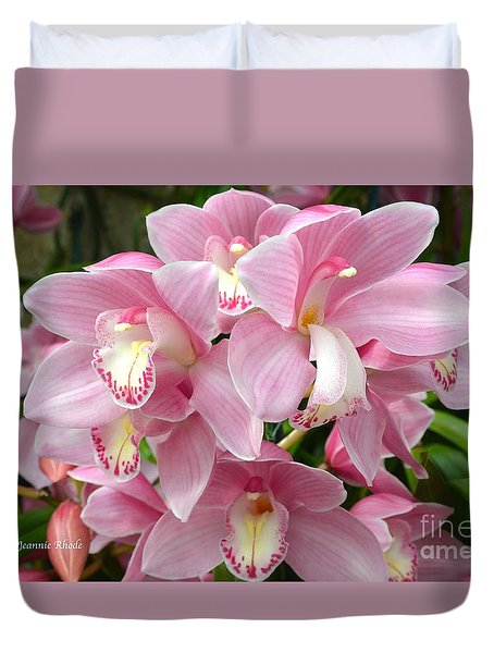 Duvet Cover featuring the photograph Cymbidium Pink Orchids by Jeannie Rhode