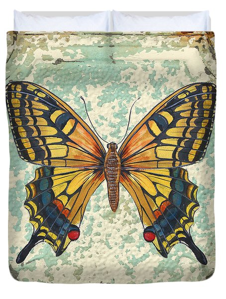 Lovely Yellow Butterfly On Tin Tile Duvet Cover