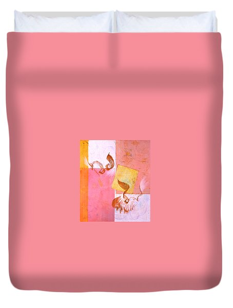Duvet Cover featuring the painting Lovers Dance 2 In Sienna And Pink  by Asha Carolyn Young