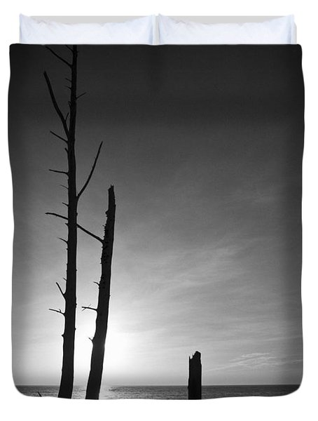 Lovers Key Sunset Black And White One Duvet Cover by Bradley R Youngberg