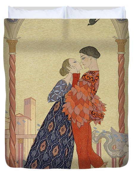 Lovers On A Balcony  Duvet Cover by Georges Barbier