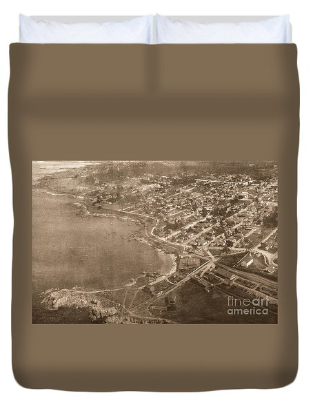 Aerial Of Lovers Point And Pacific Grove California July 10 1906 Duvet Cover