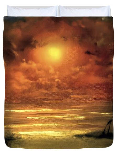 Lovers Sunset Duvet Cover