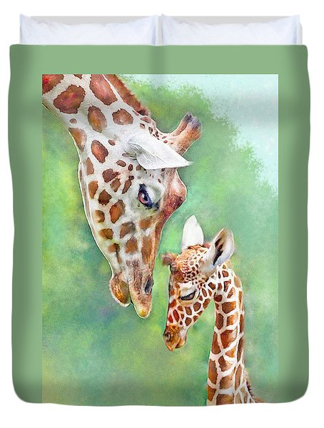 Duvet Cover featuring the digital art Loving Mother Giraffe2 by Jane Schnetlage