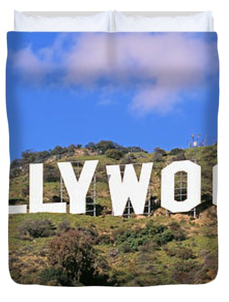 Low Angle View Of A Hollywood Sign Duvet Cover