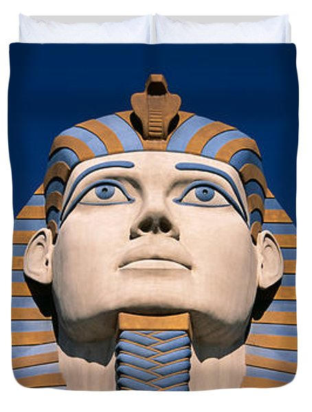 Low Angle View Of A Sphinx, Luxor Hotel Duvet Cover