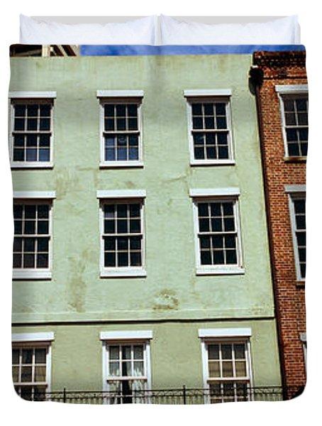 Low Angle View Of Buildings, Riverwalk Duvet Cover