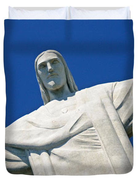 Low Angle View Of The Christ The Duvet Cover