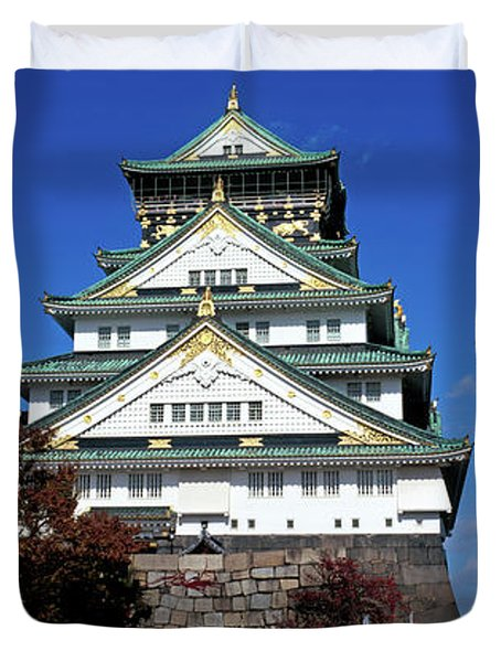 Low Angle View Of The Osaka Castle Duvet Cover