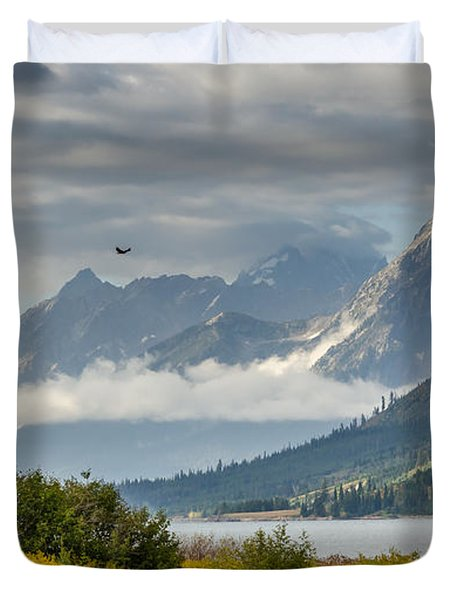 Low Clouds On The Teton Mountains Duvet Cover by Debra Martz