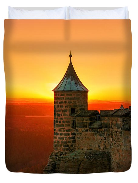 Low Sun On The Fortress Koenigstein Duvet Cover