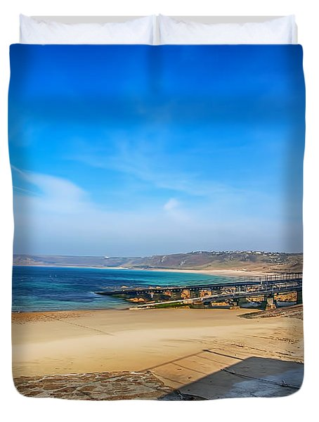 Low Tide At Sennen Cove 2 Duvet Cover by Chris Thaxter