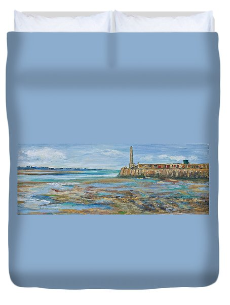 Low Tide In The Harbour. Duvet Cover