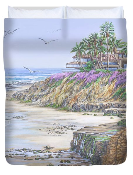 Duvet Cover featuring the painting Low Tide Solana Beach by Jane Girardot