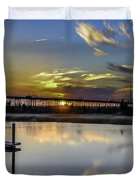 Lowcountry Marina Sunset Duvet Cover