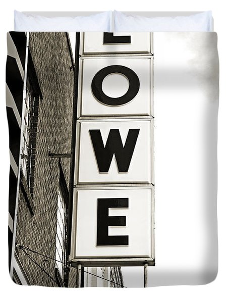 Lowe Drug Store Sign Bw Duvet Cover by Andee Design