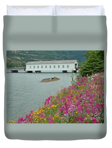 Duvet Cover featuring the photograph Lowell Covered Bridge by Nick  Boren
