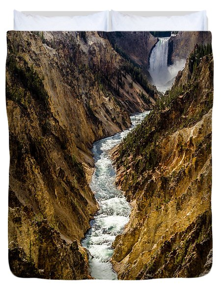 Lower Falls Of Grand Canyon Of Yellowstone Duvet Cover by Debra Martz