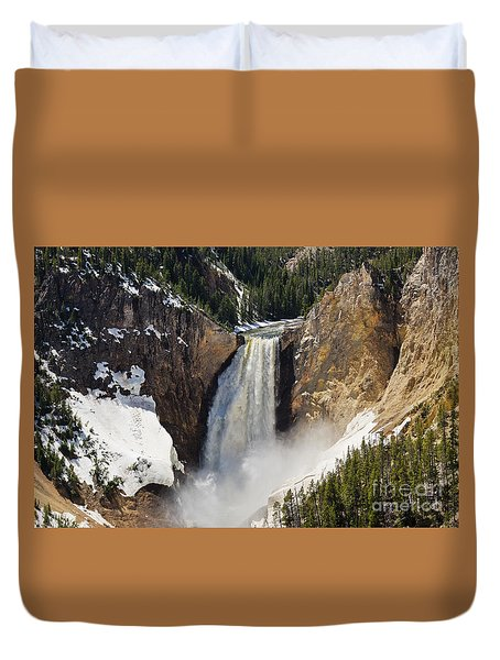 Lower Falls Of The Yellowstone Duvet Cover by Sue Smith