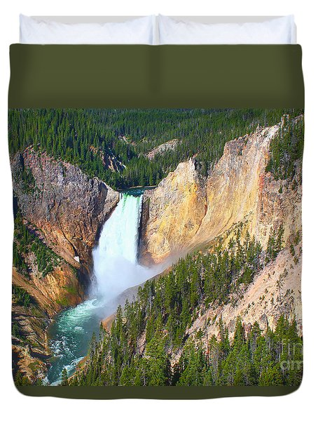 Duvet Cover featuring the photograph Lower Falls Yellowstone 2 by Teresa Zieba