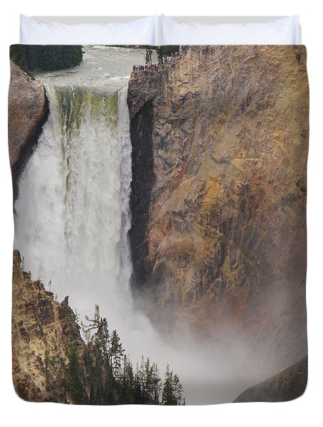 Lower Falls - Yellowstone Duvet Cover by Mary Carol Story
