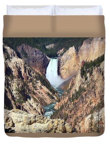 Lower Falls Yellowstone Duvet Cover by Teresa Zieba