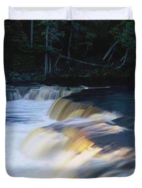 Lower Tahquamenon Falls Duvet Cover by Randy Pollard