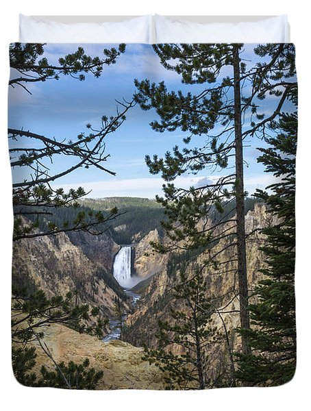 Lower Yellowstone Canyon Falls - Yellowstone National Park Wyoming Duvet Cover by Brian Harig