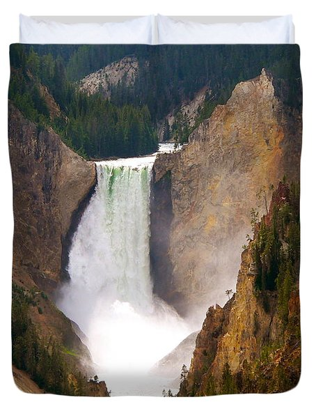 Duvet Cover featuring the photograph Lower Yellowstone Falls by Eric Tressler