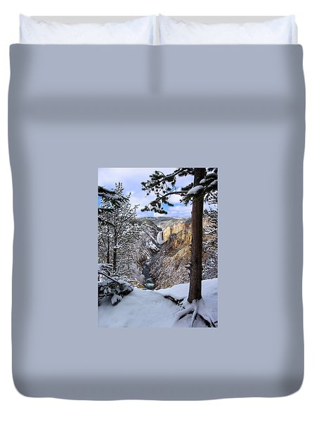Lower Yellowstone Falls In October Duvet Cover