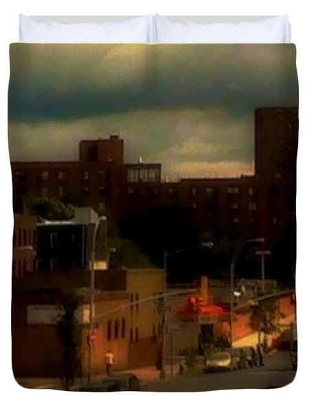 Duvet Cover featuring the photograph Lowering Clouds by Miriam Danar