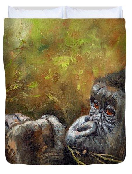 Lowland Gorilla 2 Duvet Cover by David Stribbling