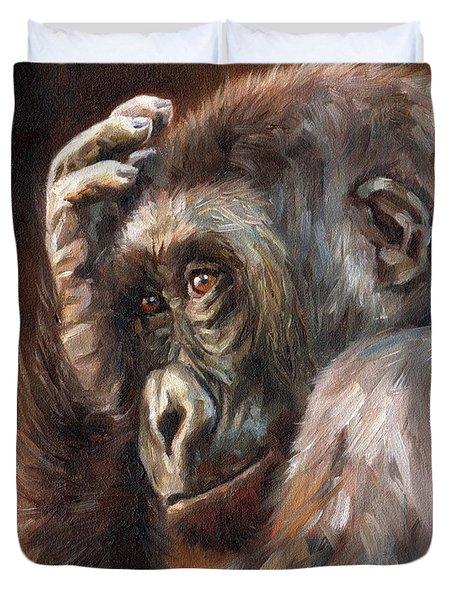 Lowland Gorilla Duvet Cover by David Stribbling