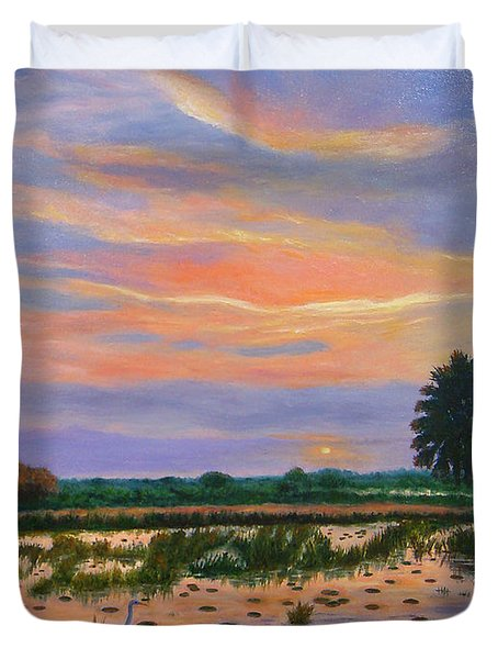 Duvet Cover featuring the painting Loxahatchee Sunset by Karen Zuk Rosenblatt