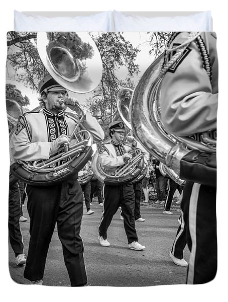 Lsu Tigers Band Monochrome Duvet Cover by Steve Harrington