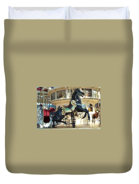 Duvet Cover featuring the photograph Lucky Black Pony - Syracuse Ptc No 18 by Barbara McDevitt