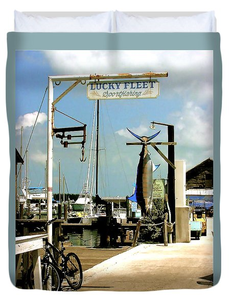 Lucky Fleet Key West  Duvet Cover
