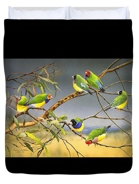 Lucky Seven - Gouldian Finches Duvet Cover by Frances McMahon