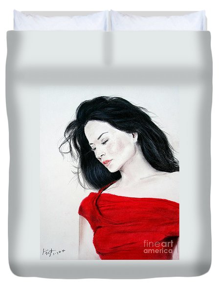 Lucy Liu The Lady In Red Duvet Cover by Jim Fitzpatrick