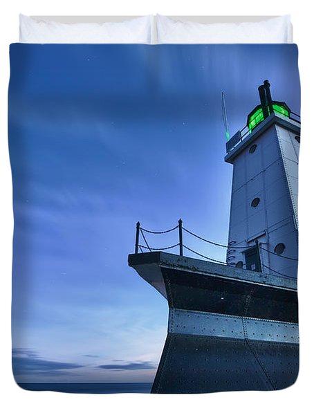 Ludington North Breakwater Lighthouse Duvet Cover by Sebastian Musial