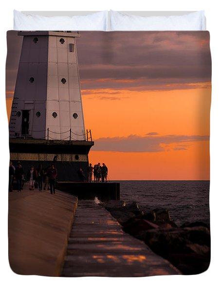 Ludington Pier And Lighthouse Duvet Cover by Sebastian Musial