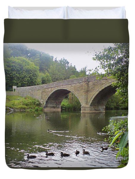 Duvet Cover featuring the photograph Ludlow Bridge by John Williams
