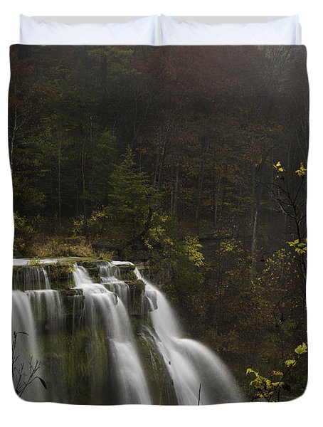 Ludlowville Falls In Autumn I Duvet Cover