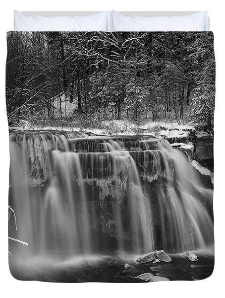 Ludlowville Falls In Winter I Duvet Cover