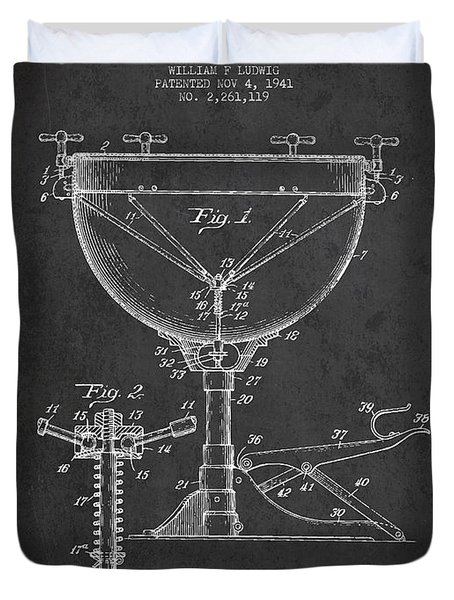 Ludwig Kettle Drum Drum Patent Drawing From 1941 - Dark Duvet Cover by Aged Pixel