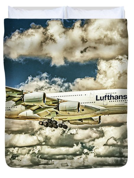 Lost In The Clouds Lufthansa A380 Named Hamburg-colorized Abstract Duvet Cover