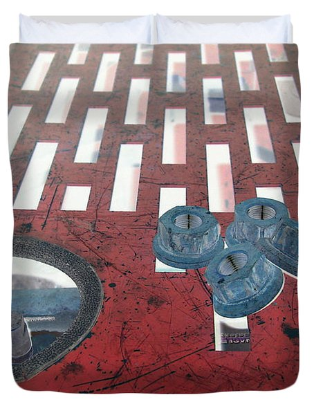 Lug Nuts On Grate And Circle H Duvet Cover by Heather Kirk
