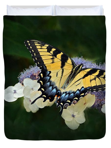 Luminous Butterfly On Lacecap Hydrangea Duvet Cover by Byron Varvarigos
