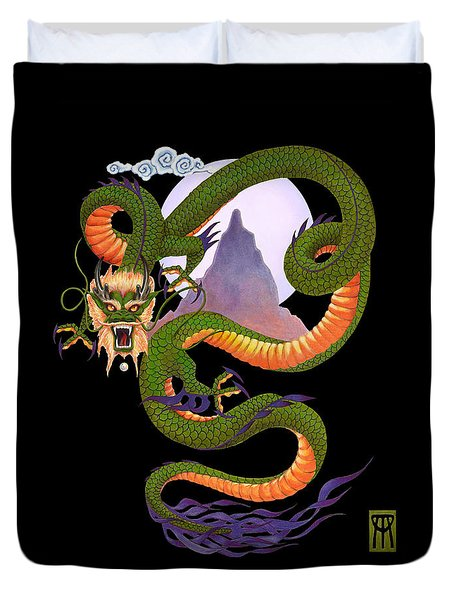Lunar Chinese Dragon On Black Duvet Cover by Melissa A Benson